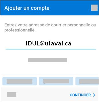 Fenêtre pour ajouter un compte avec IDUL<span>@</span>ulaval.ca